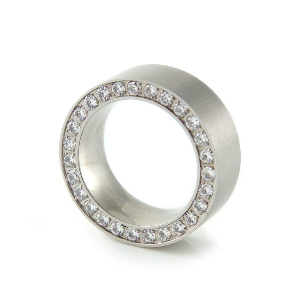 Square Eternity Ring Polished Steel