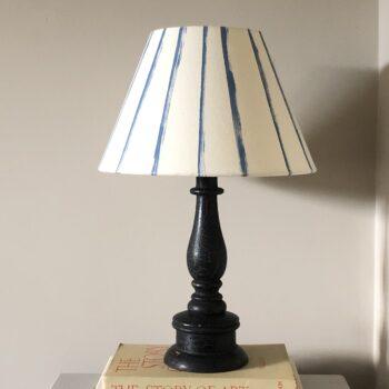 Fine Stripe Calico Lampshade Denim